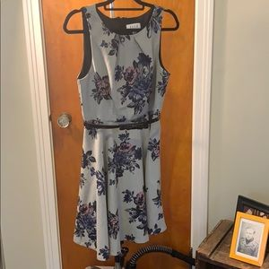Elle Grey Floral Swing Dress